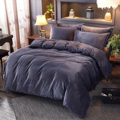 2019新款冬季水晶绒纯色床笠款四件套 1.2m床笠款三件套 黑灰色