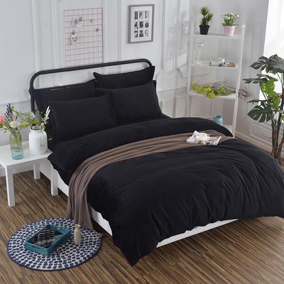 2019新款冬季水晶绒纯色床笠款四件套 1.2m床笠款三件套 黑色