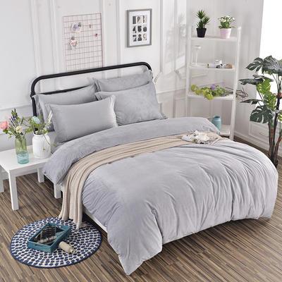 2019新款冬季水晶绒纯色床笠款四件套 1.2m床笠款三件套 银灰色