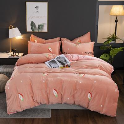 2019新款-水晶绒印花床单款四件套 1.0m-1.35m床单款三件套 草莓