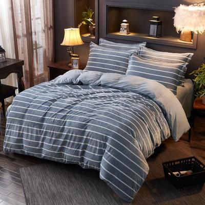 2019新款-水晶绒印花床单款四件套 1.0m-1.35m床单款三件套 灰条纹