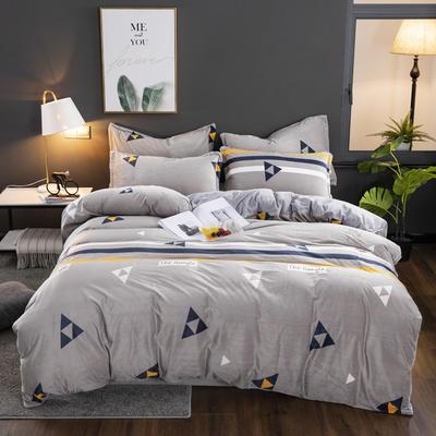 2019新款-水晶绒印花床单款四件套 1.0m-1.35m床单款三件套 三角