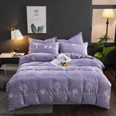 2019新款-水晶绒印花床单款四件套 1.0m-1.35m床单款三件套 小象