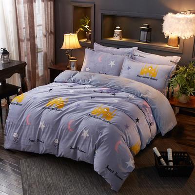 2019新款-水晶绒印花床单款四件套 1.0m-1.35m床单款三件套 星月城堡