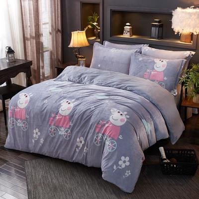 2019新款-水晶绒印花床单款四件套 1.0m-1.35m床单款三件套 猪小弟