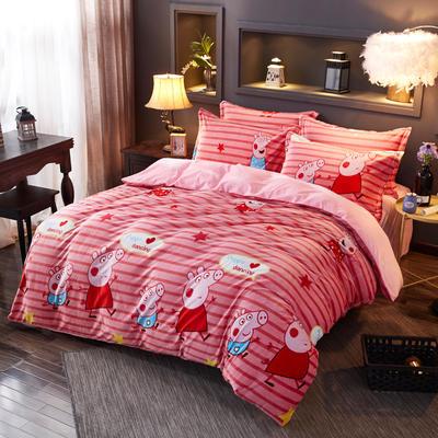 2019新款-水晶绒印花床单款四件套 1.0m-1.35m床单款三件套 猪小妹
