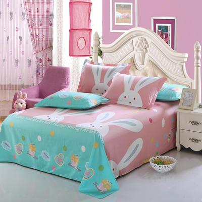 新款13070纯棉全棉单件床单 100cmx220cm 大白兔-粉色