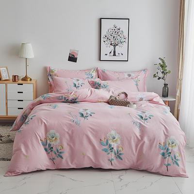2020新款-13374全棉系列四件套 床单款三件套1.2m(4英尺)床 云想衣-粉