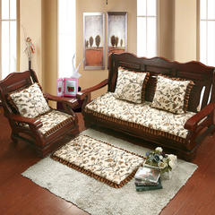 2017 新款法莱绒绗绣沙发垫 单人:53*53cm 绗绣香水百合