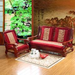 2017 新款烫花双拼沙发垫 单人:53*53cm 富贵花开酒红