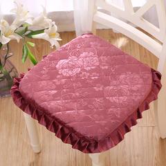 2018新款- 贵妃绒餐椅垫+方垫 40*42cm(不含花边) 飘香玫瑰豆沙餐椅垫