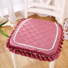 2018新款-丽丝绒餐椅垫 40*42cm(不含花边) 丽丝绒豆沙
