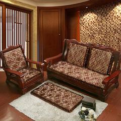 2018新款-提花绗绣沙发垫-璀璨花海红驼 单人52*52cm 璀璨花海红驼