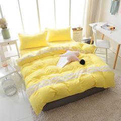 2018新款水洗棉蕾丝花边四件套 2.0m(床单款) 黄色