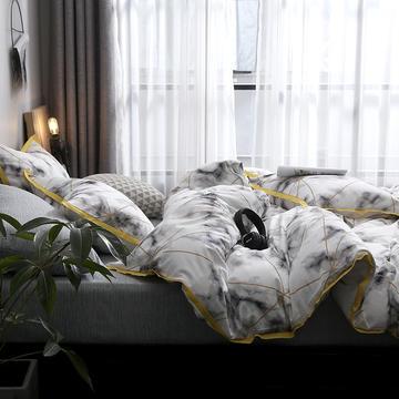 全棉罗马纹性冷淡风系列四件套 1.2m(4英尺)床 莱卡