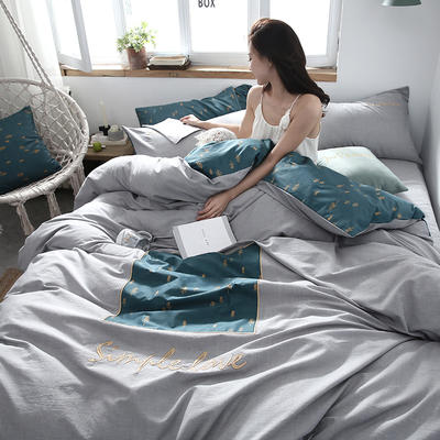 2019新款-Simple全棉色织水洗棉贴布绣四件套 三件套1.2m(4英尺)床 沐森800
