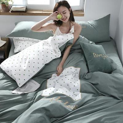 2019新款-Simple全棉色织水洗棉贴布绣四件套 三件套1.2m(4英尺)床 沐叶800
