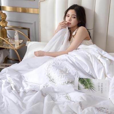 2019新款-全棉单层纱手工刺绣夏被 180x220cm 曼莎白