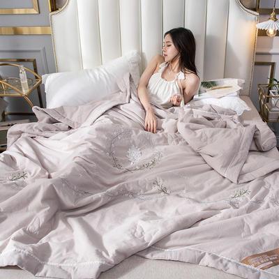 2019新款-全棉单层纱手工刺绣夏被 180x220cm 曼莎咖