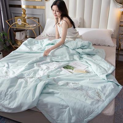 2019新款-全棉单层纱手工刺绣夏被 180x220cm 曼莎兰