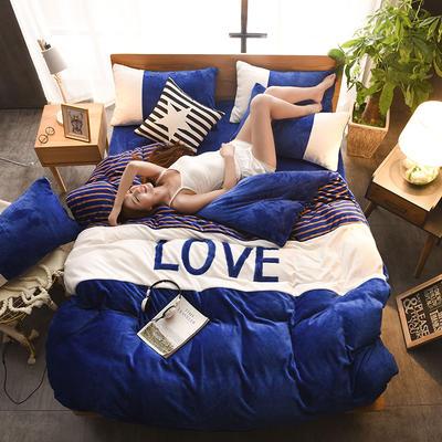 2019新款-love法莱绒贴布绣四件套 1.8m(6英尺)床 LOVE-宝蓝