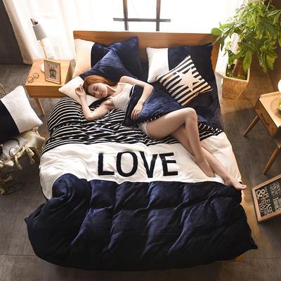 2019新款-love法莱绒贴布绣四件套 三件套1.2m(4英尺)床 LOVE-藏青