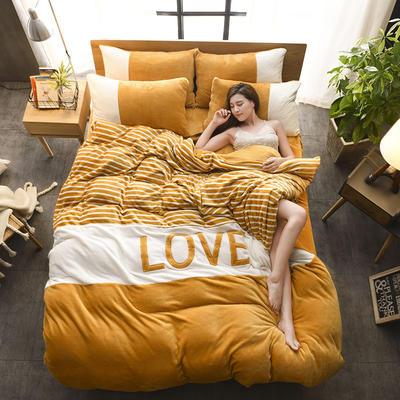 2019新款-love法莱绒贴布绣四件套 1.8m(6英尺)床 LOVE-金