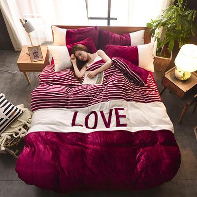 2019新款-love法莱绒贴布绣四件套 1.8m(6英尺)床 LOVE-酒红