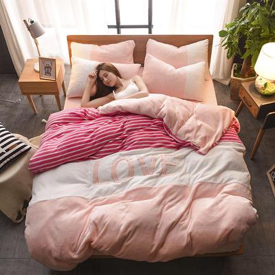 2019新款-love法莱绒贴布绣四件套 1.8m(6英尺)床 LOVE-玫红玉