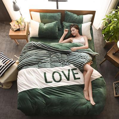2019新款-love法莱绒贴布绣四件套 1.8m(6英尺)床 LOVE-墨绿