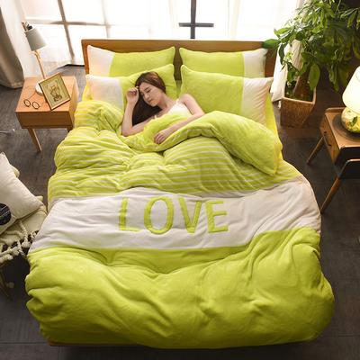 2019新款-love法莱绒贴布绣四件套 1.8m(6英尺)床 LOVE-暖绿