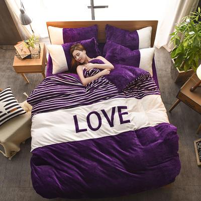 2019新款-love法莱绒贴布绣四件套 1.8m(6英尺)床 LOVE-深紫