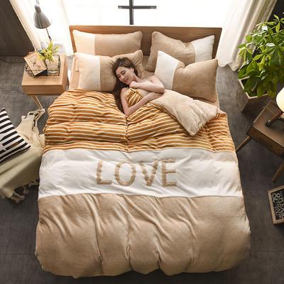 2019新款-love法莱绒贴布绣四件套 1.8m(6英尺)床 LOVE-驼