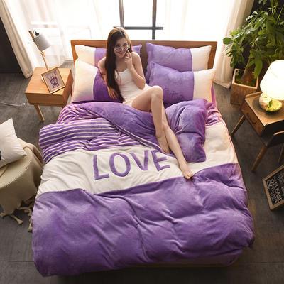 2019新款-love法莱绒贴布绣四件套 1.8m(6英尺)床 LOVE-紫罗兰