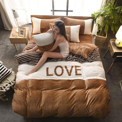 2019新款-love法莱绒贴布绣四件套 1.8m(6英尺)床 LOVE-棕咖
