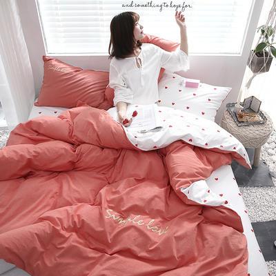 2019新款-Ins网红色织水洗棉刺绣四件套 三件套1.2m(4英尺)床 甜蜜蜜