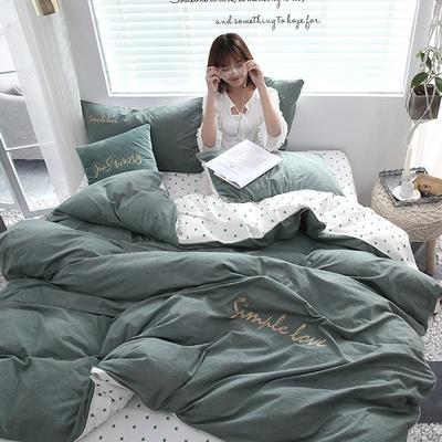 2019新款-Ins网红色织水洗棉刺绣四件套 三件套1.2m(4英尺)床 幸运草