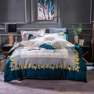 2019新款-美式60长绒棉印加绣系列四件套 1.8m(6英尺)床 蓝调庄园