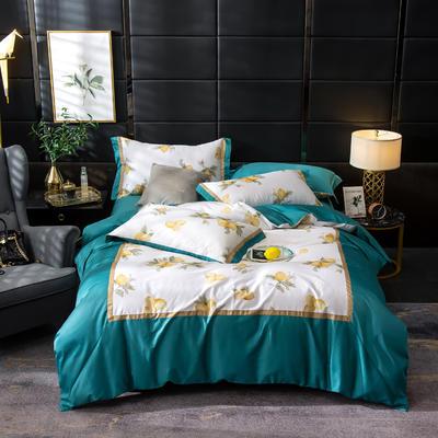 2019新款-美式60长绒棉数码印花拼框四件套 1.8m(6英尺)床 初妆半夏