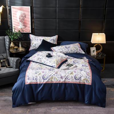 2019新款-美式60长绒棉数码印花拼框四件套 1.8m(6英尺)床 花舞墨影