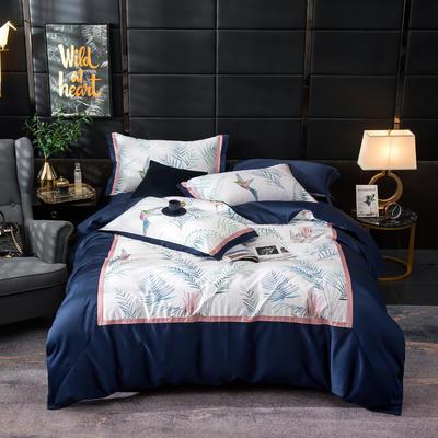 2019新款-美式60长绒棉数码印花拼框四件套 1.8m(6英尺)床 墨染芳华