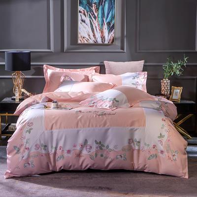 2019新款-美式60长绒棉数码印花拼框四件套 1.8m(6英尺)床 苏菲娜拉