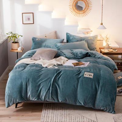 2019新款-织标款素色法莱绒四件套 床单款三件套1.2m(4英尺)床 卡尔湖蓝