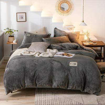 2019新款-织标款素色法莱绒四件套 床单款三件套1.2m(4英尺)床 卡尔灰