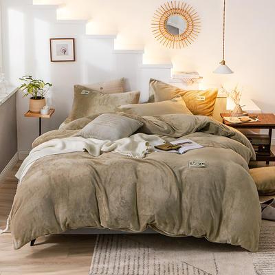2019新款-织标款素色法莱绒四件套 床单款四件套1.8m(6英尺)床 卡尔卡其