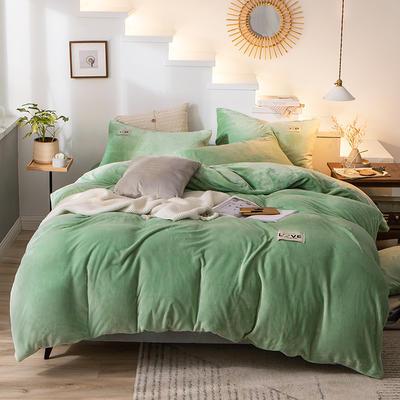 2019新款-织标款素色法莱绒四件套 床单款四件套1.8m(6英尺)床 卡尔可可绿