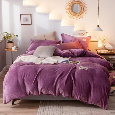 2019新款-织标款素色法莱绒四件套 床单款四件套1.8m(6英尺)床 卡尔魅力紫