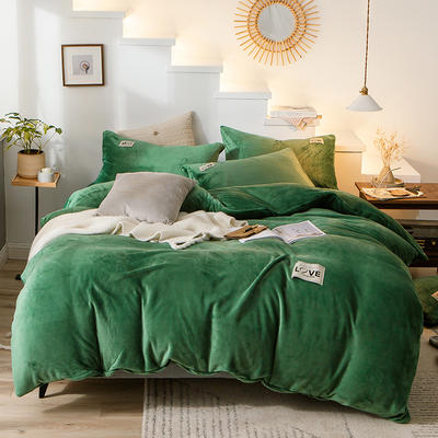 2019新款-织标款素色法莱绒四件套 床单款四件套1.8m(6英尺)床 卡尔莫绿