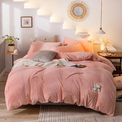 2019新款-织标款素色法莱绒四件套 床单款四件套1.8m(6英尺)床 卡尔嫩粉