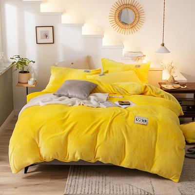 2019新款-织标款素色法莱绒四件套 床单款四件套1.8m(6英尺)床 卡尔柠檬黄